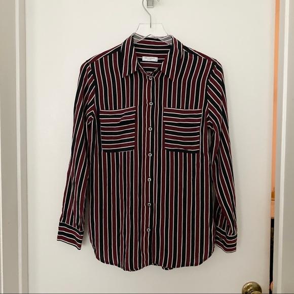 Equipment striped silk button down blouse shirt